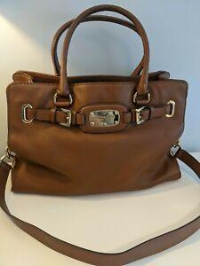 Michael Kors Hamilton soft pebbled leather satchel bag in brown