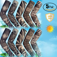 5 Pairs Tattoo Arm Sleeves Cooling Cover Basketball Golf Sport UV Sun Protection