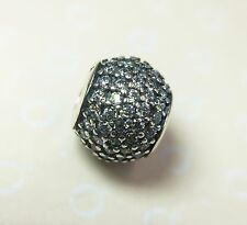 Pandora S925 Ale Silver White Pave Ball Charm/Bead With Tissue And Pop-up Box