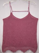 NEW Maurices Sz XL Top  Dusty Mauve Crochet Front Overlay