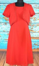 Coldwater Creek Women's Two Piece Dress Suit Size 8 Red Bejeweled Flowing