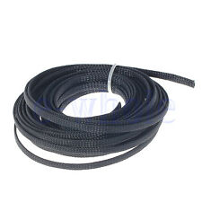 10M 6mm Braided Sleeving - Braid Cable Wiring Harness Loom Protection Black EW