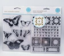 Clear Monogram and Frame Stamp Martha Stewart AND Butterfly Stamp Set Lot of 2