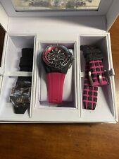 Pink & Black Technomarine Watch For Women