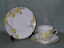Vintage Tuscan Bone China Trio Tea Cup Saucer & Side Plate Yellow Flowers C4552