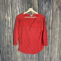 Lucky Brand Medium Top Red Lace Crochet Sheer Boho Peasant 3/4 Sleeve