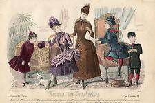 """145/ GRAVURE DE MODE """"  JOURNAL des DEMOISELLES """" 1886 SUPERBES COULEURS !"""