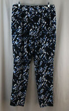 Mossimo, Size 10, Ebony/Blue Diagonal Print Polyester Pant, New without Tags