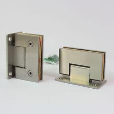 "pair of shower room glass door hinge wall to glass frameless 3/8"" satin nickel"