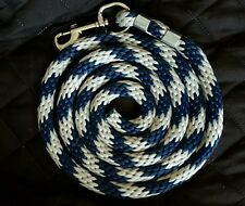 Horse Nylon Lead Rope 70 inches with steel  Swivel Snap - navy/grey candy cane
