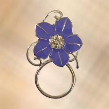 NEW Purple Crystal Flower Eye Eyewear Glasses Spectacle Hanger Brooch Pin Holder