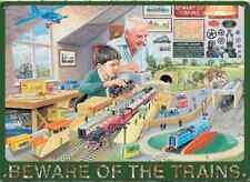"""""""BEWARE OF THE TRAINS """" RETRO METAL FRIDGE MAGNET 9cm x 7cm"""