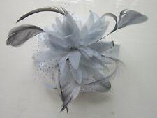 Silver Grey FASCINATOR Flower Net Ribbon Feather Tendrils | Comb | Wedding (66A)