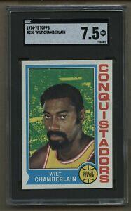1974-75 Topps #250 Wilt Chamberlain Basketball Card SGC 7.5 NM+