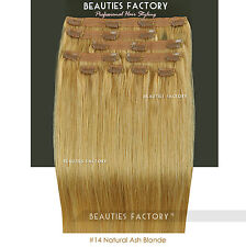 Double Weft Thick Deluxe 20 Inch Clip in 100 Remy Human Hair Extension Natural Ash Blonde 150 Gram