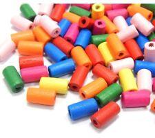 250 Holz Perlen 12mm Tube Bunt Mix Röhre Schmuck Basteln Perlenmischung BEST H54