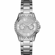 AUTHENTIC GUESS LADIES' SASSY WATCH SILVER TONE RRP:$349 W0705L1 Brand New