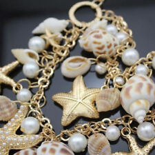 Seashell Double-Layer Necklace - Beach Wear - Goldtone-Starfish, Pearls & Shells