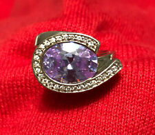 Sterling Silver 925 Oval Amethyst & CZ Women's Cocktail Ring Size 7.5