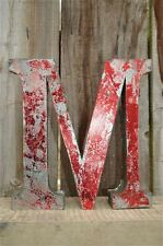 MEDIUM VINTAGE STYLE 3D RED M SHOP SIGN LETTER TIN WALL ART LETTER FONT 8 INCH