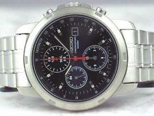 Seiko Chronograph SND127 SND127P1 Men Black Dial 100m Stainless Steel Watch