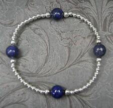 NEU 925 Silber ARMBAND 8mm LAPISLAZULI EDELSTEINE in blau EDELSTEIN elastisch
