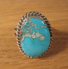 Size 9 Navajo Blue Turquoise Ring .925 Sterling Silver Mens Jewelry 9.5 Western