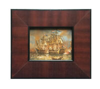 Beautiful miniature oil painting of the colonial battleship in custom wood frame