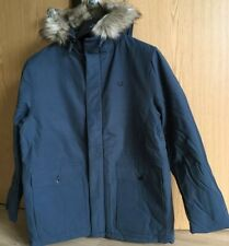 Fred Perry Quilted Fur Trim Parka Blue XL
