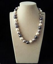 Rare Huge 12mm Real Black White Gray Mix South Sea Shell Pearl Necklace 18''