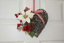 Wicker heart grey, white poinsettia, red berries, cone - Christmas Decorations