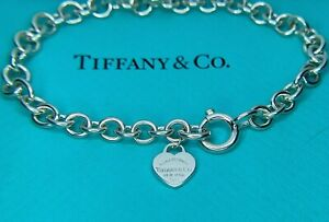 Authentic Tiffany & Co. Sterling Silver 7.5 Inch Long Mini Tag Charm Bracelet