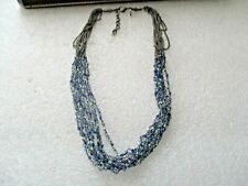 M&S DARK METAL MULTI STRAND SMALL BLUE CRYSTAL  NECKLACE
