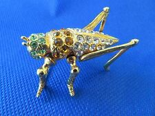 Vtg Grasshopper Brooch~Pin Made in Mexico Bright Rhinestones Gold Plated