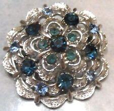 broche cristaux saphir bleu bijou vintage Top couleur argent signé CORO  2190