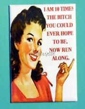 """I am 10 times the Bitch you could ever hope to be. 2"""" x 3"""" Fridge MAGNET humor"""
