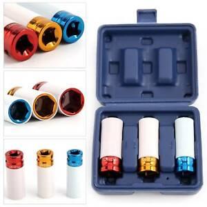 "Alloy Wheel Nut Thin Wall Deep Impact Socket Set 1/2"" drive 17mm 19mm 21mm"