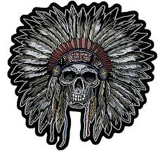 INDIAN CHIEF SKULL Biker Quality MC Club Embroidered LARGE BACK Patch LRG-0457