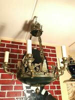 RARE Antique Empire Chandelier Gold Bronze French Brass Hanging Chain Lamp