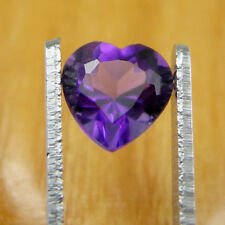 1.26 carats Heart 7mm Cut Bright Deep Purple Natural Amethyst Loose Gemstone