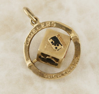 Vintage 'Gamblers Nightmare' Spinning Dice Charm 9ct Yellow Gold