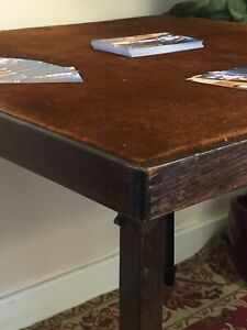 Vintage card-table folding legs velvet top prob.1930s (ourcodeRP)