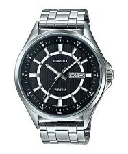 MTP-E108D-1A Black Casio Watches Stainless Steel Band Analog Brand-New