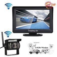 "Wireless IR Car Rear View Backup Camera+4.3"" Monitor For Rv Truck Trailer 12-24V"