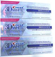 3 X NEW CREST 3D WHITE BRILLIANCE WHITE TEETH WHITENING TOOTHPASTE