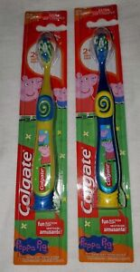 2 Colgate Child's Manual Toothbrush - Peppa Pig Yellow / Blue with Suction...
