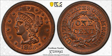 1855 Large Cent PCGS MS64RB Slanted 55 CAC