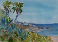 """Diver's Cove"" Original Watercolor Painting RAMfish Artist Beach Palms"