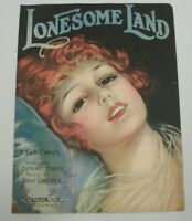 1920 Lonesome Land Sheet Music with F Earl Christy Cover Girl