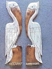 "39"" PELICAN SET OF 2 HAND CARVED WOOD BIRDS WALL ART PATIO HOME ISLAND DECOR"